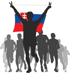 Winner with the Slovakia flag at the finish vector image