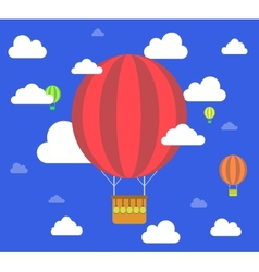Retro hot air balloon fly sky background vector