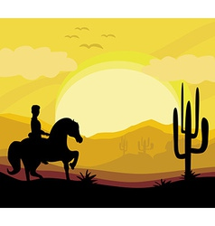 Silhouette of a man ride a horse during sunset vector