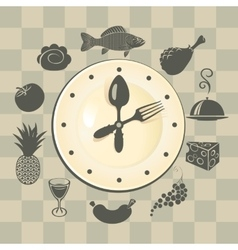 Clock and different dishes vector