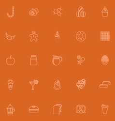 Sweet food orange line icons vector
