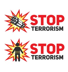 Stop terrorism with the dynamite and a bomber vector