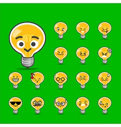 Collection of difference emoticon bulb lamp vector