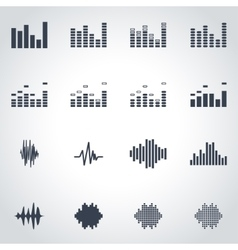 black music soundwave icon set vector image