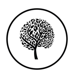 Ecological tree with leaves icon vector