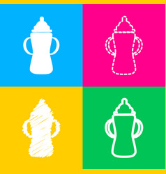 Baby bottle sign four styles of icon on four vector