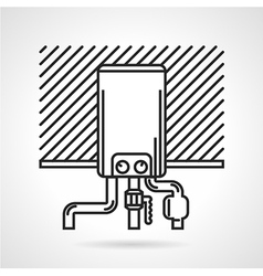 Black line icon for heating boiler vector image