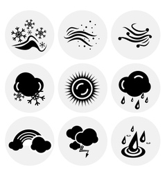 black weather icons vector image
