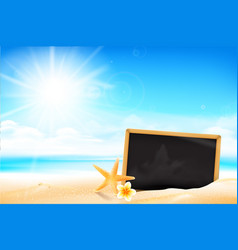 blank black board on the sand beach 001 vector image vector image