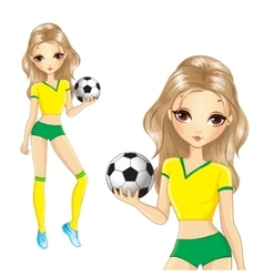 Blonde brazilian soccer girl vector