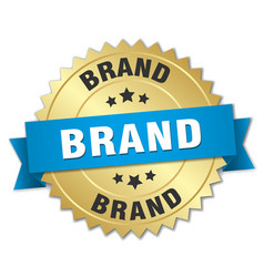 Brand 3d gold badge with blue ribbon vector