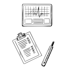 Cardiogram medical history thermometer sketches vector