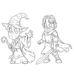 cartoon medieval wizard and knight character set vector image vector image