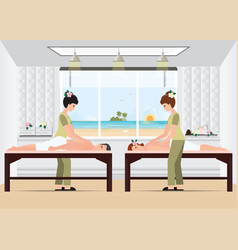 couple enjoying full body massage treatment from vector image vector image