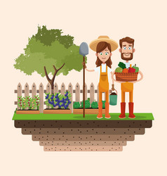 Couple farmers vegetable basket shovel badge vector