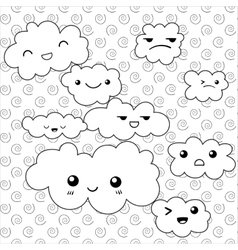 Cute clouds coloring page vector