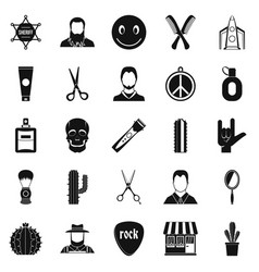Different hairstyles icons set simple style vector