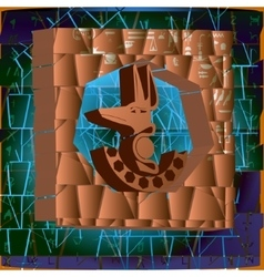 Egyptian symbols in the background of masonry vector image