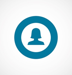 Female profile bold blue border circle icon vector