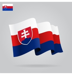 Flat and waving slovak flag vector