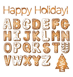 gingerbread cookies alphabet holidays ginger vector image