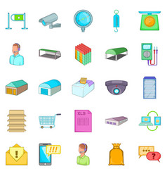 Goods shed icons set cartoon style vector