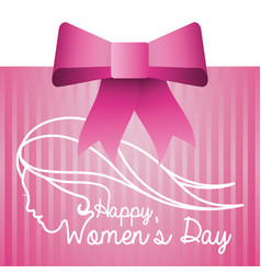 Happy womens day pink card with bow vector
