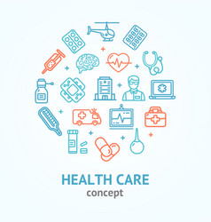 health care color round design template line icon vector image