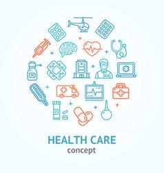 health care color round design template line icon vector image vector image