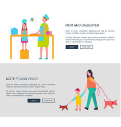 Mom and daughter mother with child web set vector