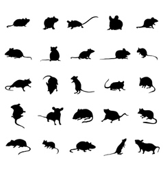 Mouse silhouettes set vector image