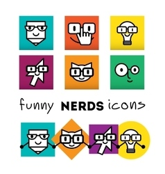 Nerds icon set with funny faces in glasses pencil vector