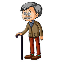 Old man with dizzy eyes vector