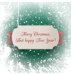 Realistic greeting Card and red Christmas Ribbon vector image vector image