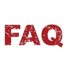 Red grunge faq logo vector image vector image