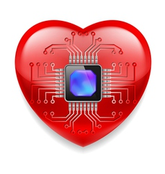 Red heart with microchip vector image