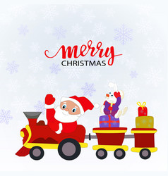Santa claus and a toy train with gifts vector