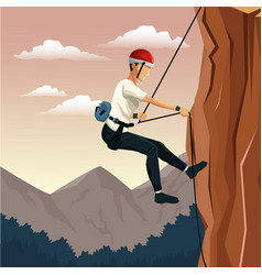 Scene landscape man mountain descent with harness vector