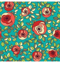 Seamless vintage rose pattern on green background vector