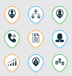 Set of 9 management icons includes employee vector