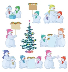 Set snowman and christmas tree vector
