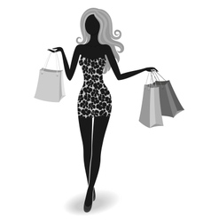 Silhouette of a shopping girl vector image
