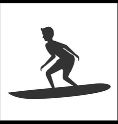 Silhouette of surfer riding on surfboard vector