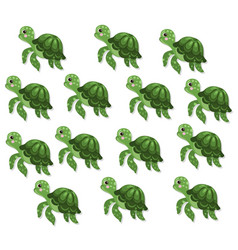 Turtle pattern background cute cartoon vector
