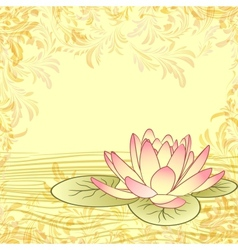 Vintage grunge paper background with lotus flower vector image vector image