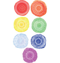 Watercolor circles circular ornament vector
