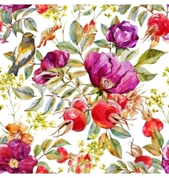 Watercolor dogrose pattern vector image vector image
