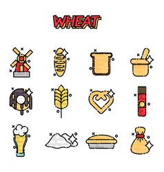 wheat flat cartoon icons vector image
