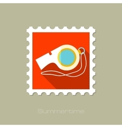 Whistle flat stamp with long shadow vector