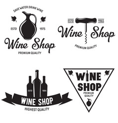 Wine shop vintage emblems labels badges and logos vector